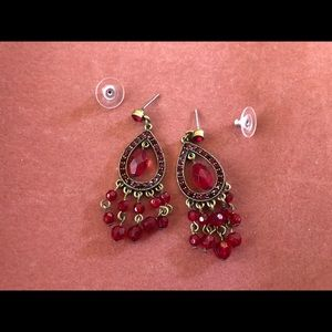 Jewelry - Red Beaded Chandelier Earrings